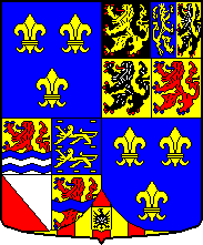 Anjou's arms as sovereign of the Netherlands. Right corner,clockwise: Gelderland, Holland, Flanders, Brabant. Left corner, clockwise: Friesland, Overijssel,Utrecht, Zeeland. Bottom: Mechelen. In the 1st and 4th quarter, the French lilies (undifferenced, i.e. without his red bordure as Duke of Anjou. Wapen hertog Anjou.PNG