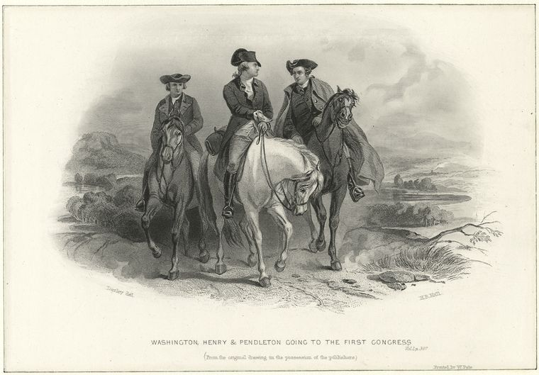 1880's lithograph by Henry Bryan Hall depicting Washington, Henry & Pendleton going to the First Congress