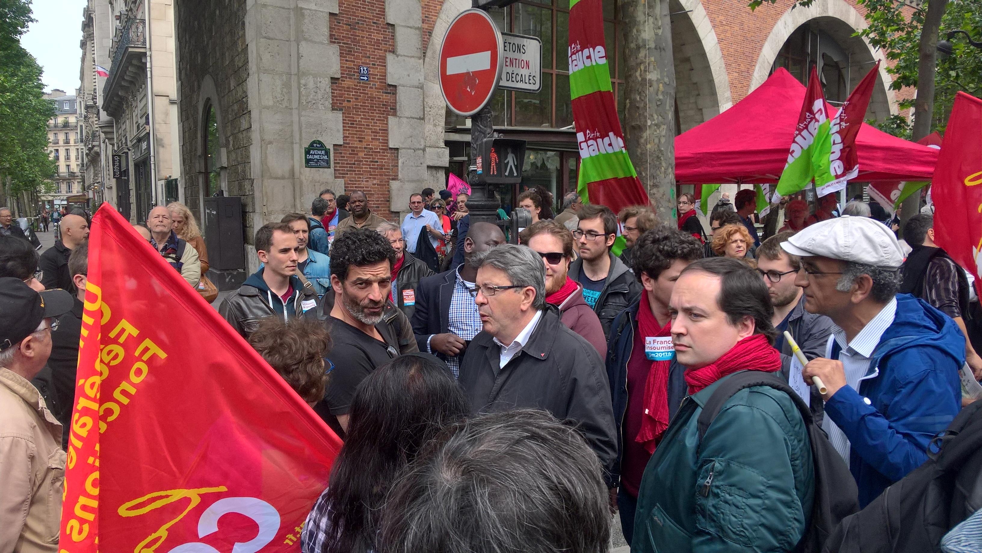 Jean-Luc Mélenchon, le 26 mai 2016 à Paris, lors d'une manifestation contre la loi El Khomri.