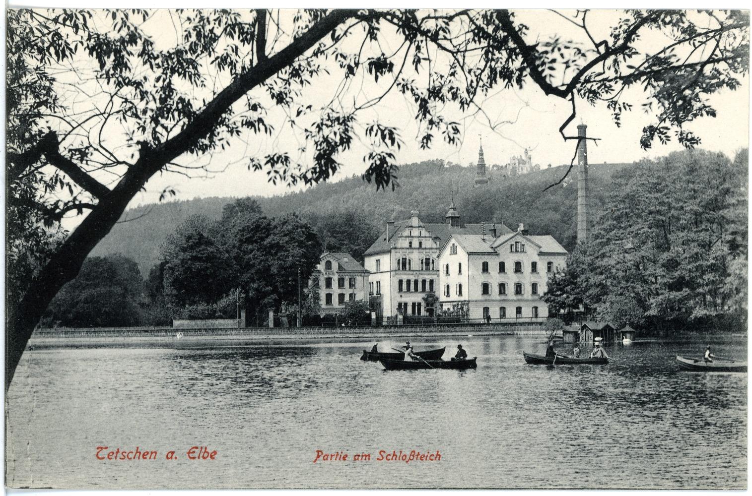 File:17774-Tetschen-1914-Schloßteich mit Gondelbetrieb-Brück & Sohn  Kunstverlag