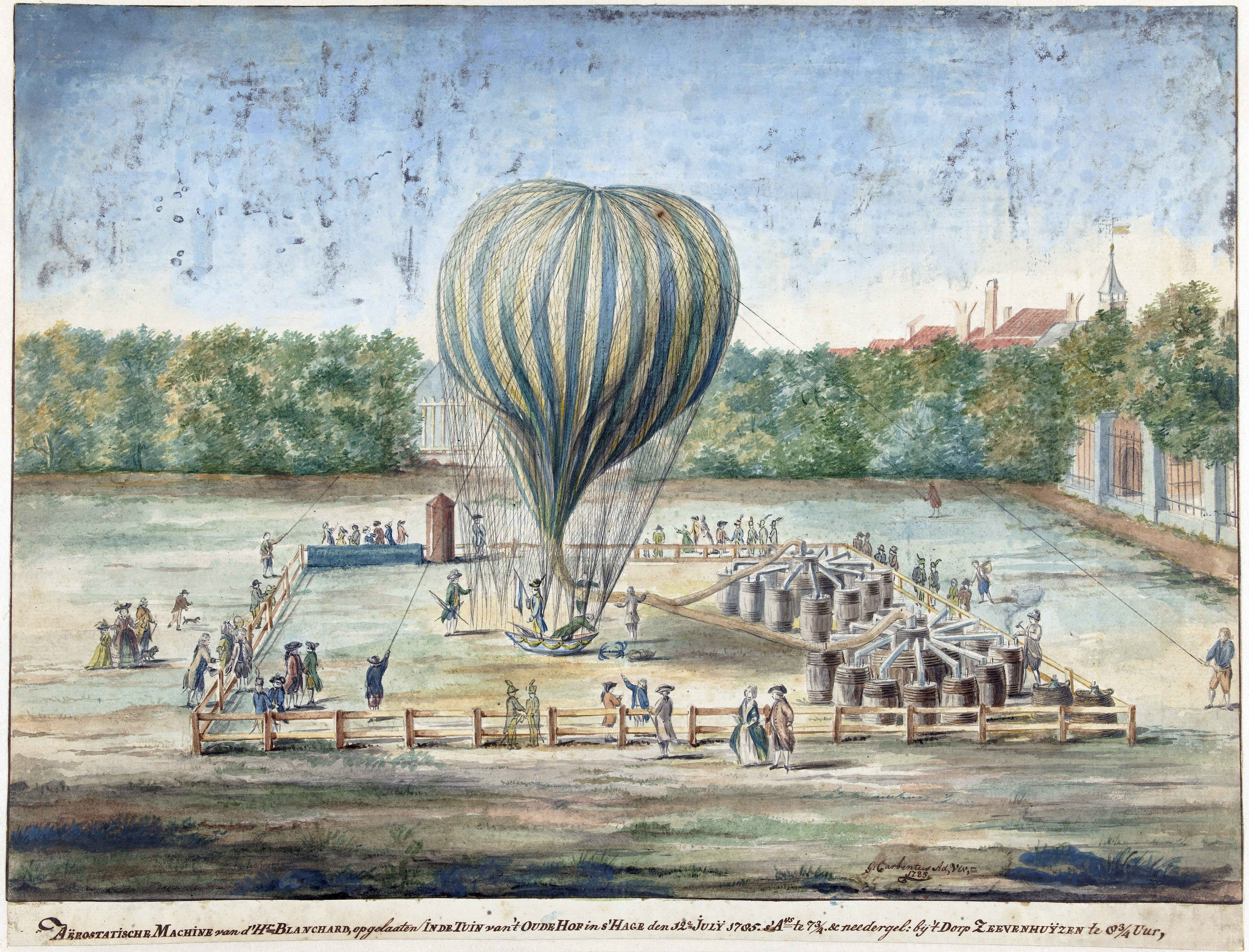 File:1785, Ascension of air-balloon at Noordeinde Palace, The Hague.