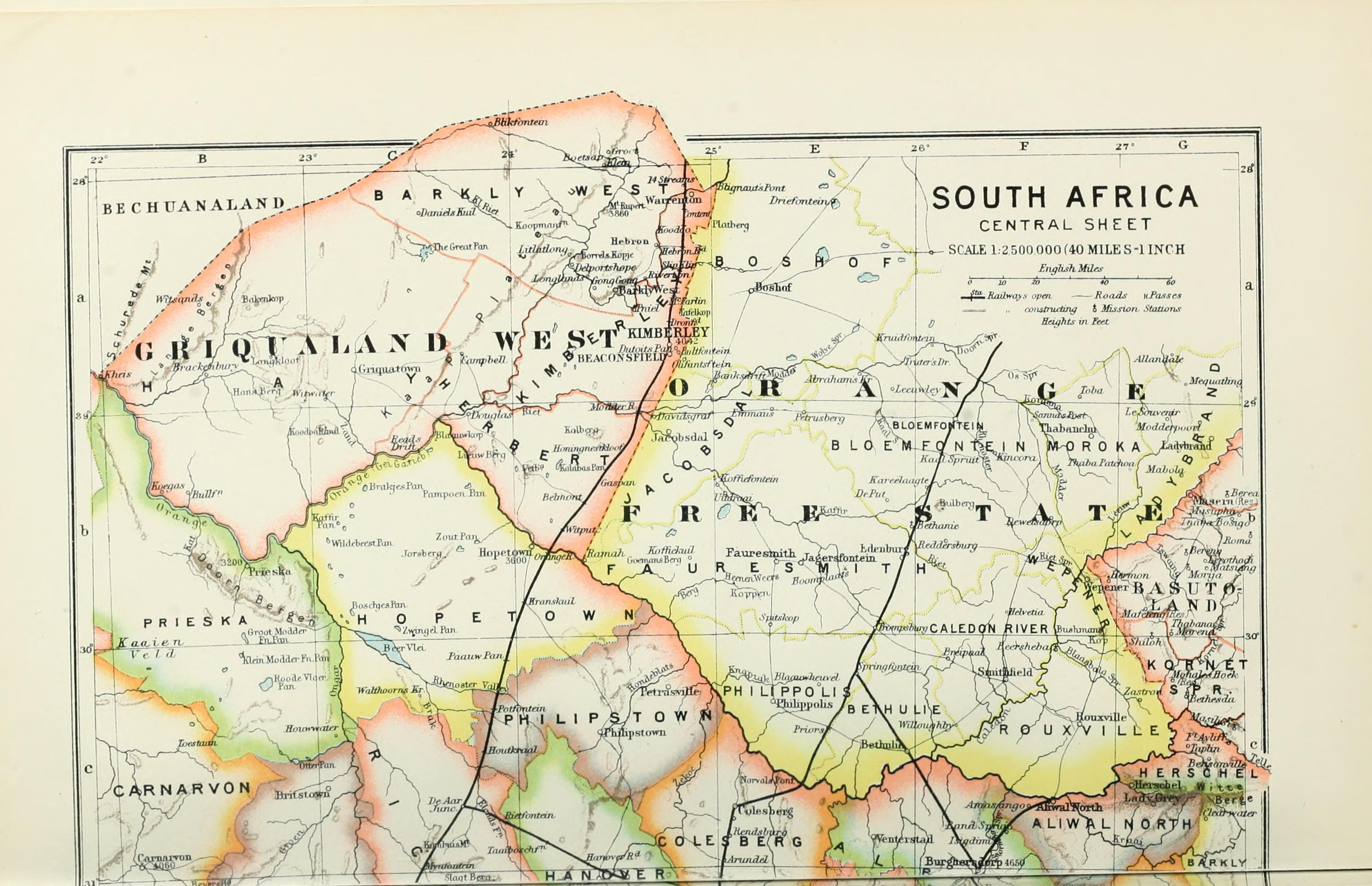 File 1895 Political Map Of South Africa From The Castle Line Atlas 86 Jpg Wikimedia Commons