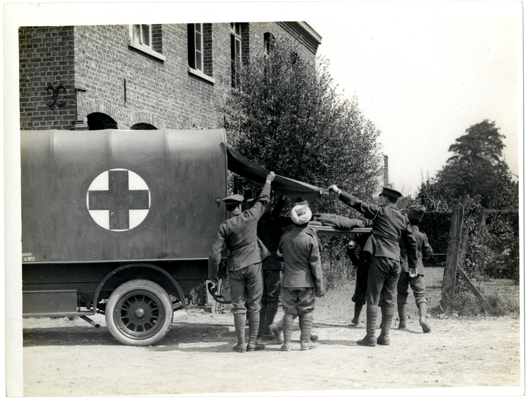 File:A regimental aid post. Arrival of a casualty (Photo 24-249).jpg
