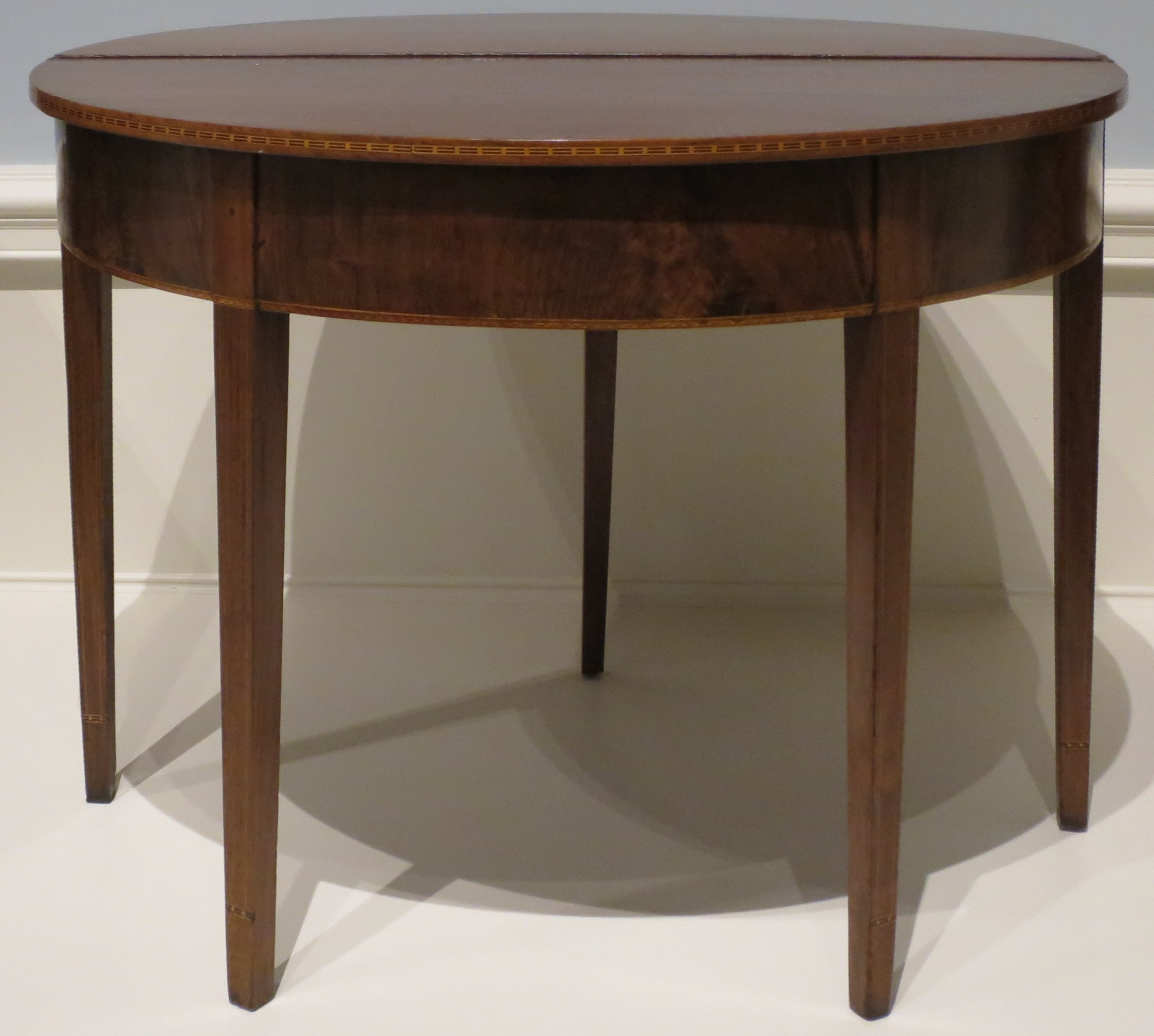 File American semi circular card table c 1790 1810 walnut with