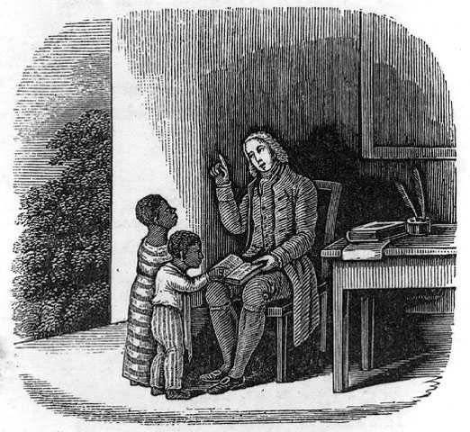 ''Benezet instructing colored children''<BR>Illustration in a book from 1850