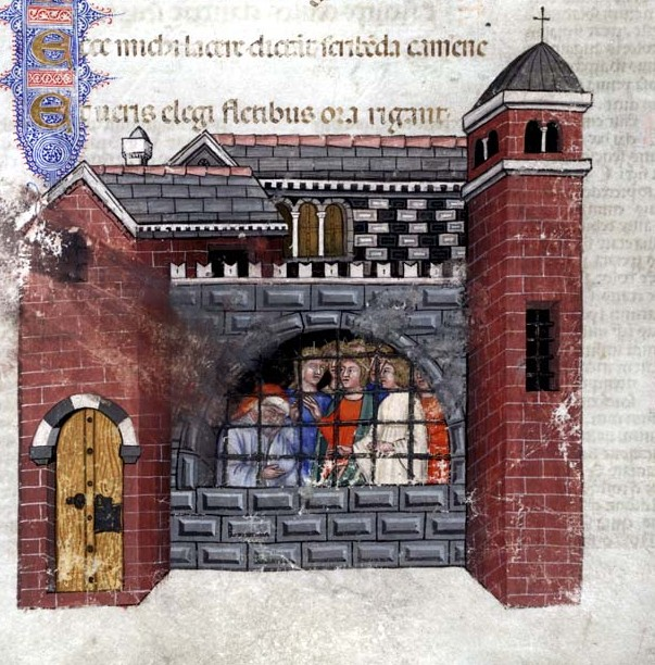 Boethius imprisoned, from a 1385 manuscript of the ''Consolation''.