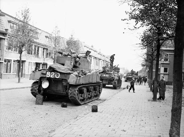 Sherman tanks of the South Alberta Regiment in recently liberated Bergen op Zoom, 29 October 1944 Canadians BOP1944.jpg
