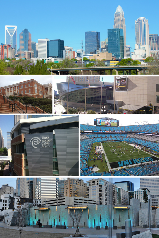 From top to bottom, left to right: Charlotte skyline, UNC Charlotte, NASCAR Hall of Fame, Spectrum Center, Bank of America Stadium, Romare Bearden Park