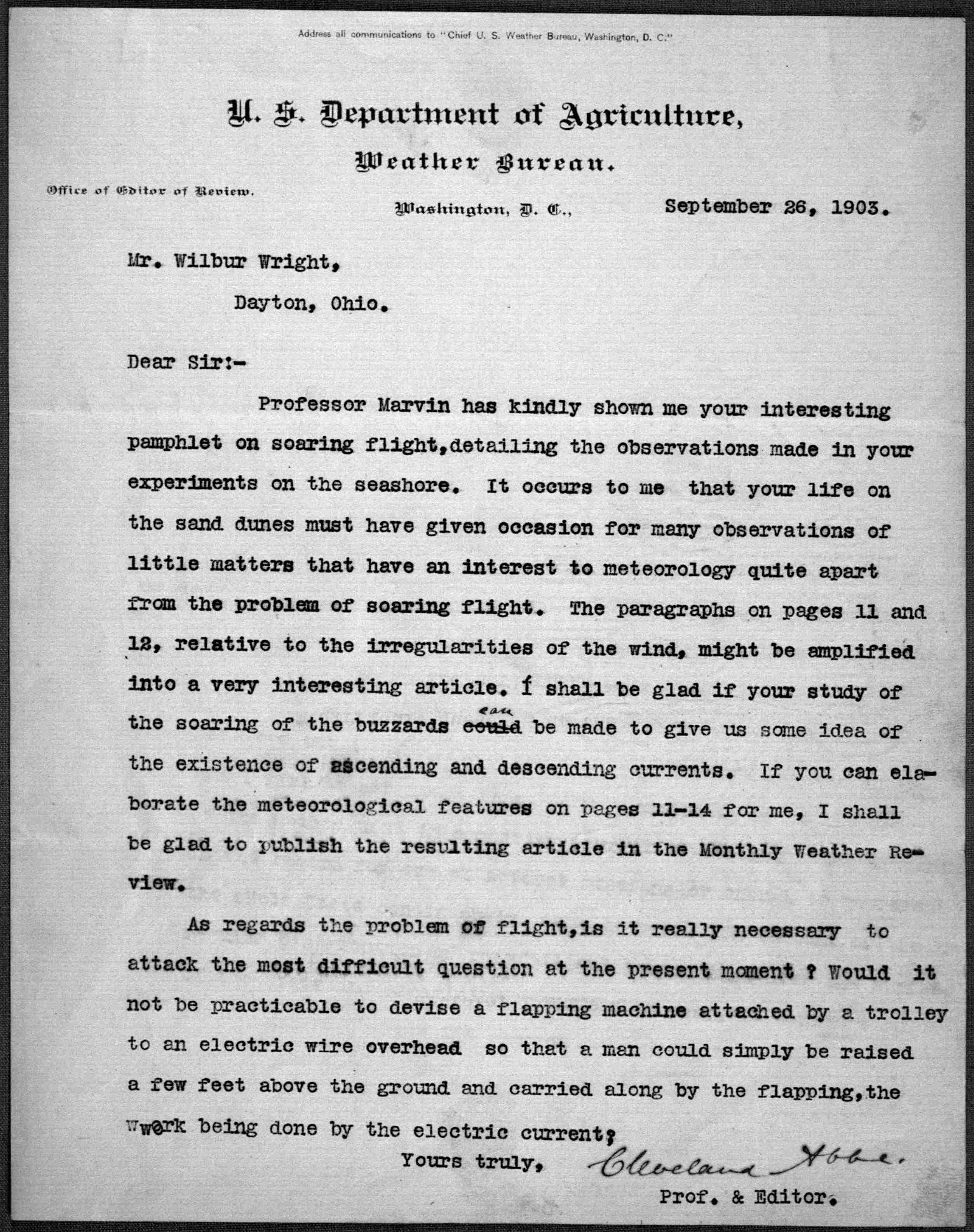 File:Cleveland Abbe letter to Wilbur Wright, September 26, 1903