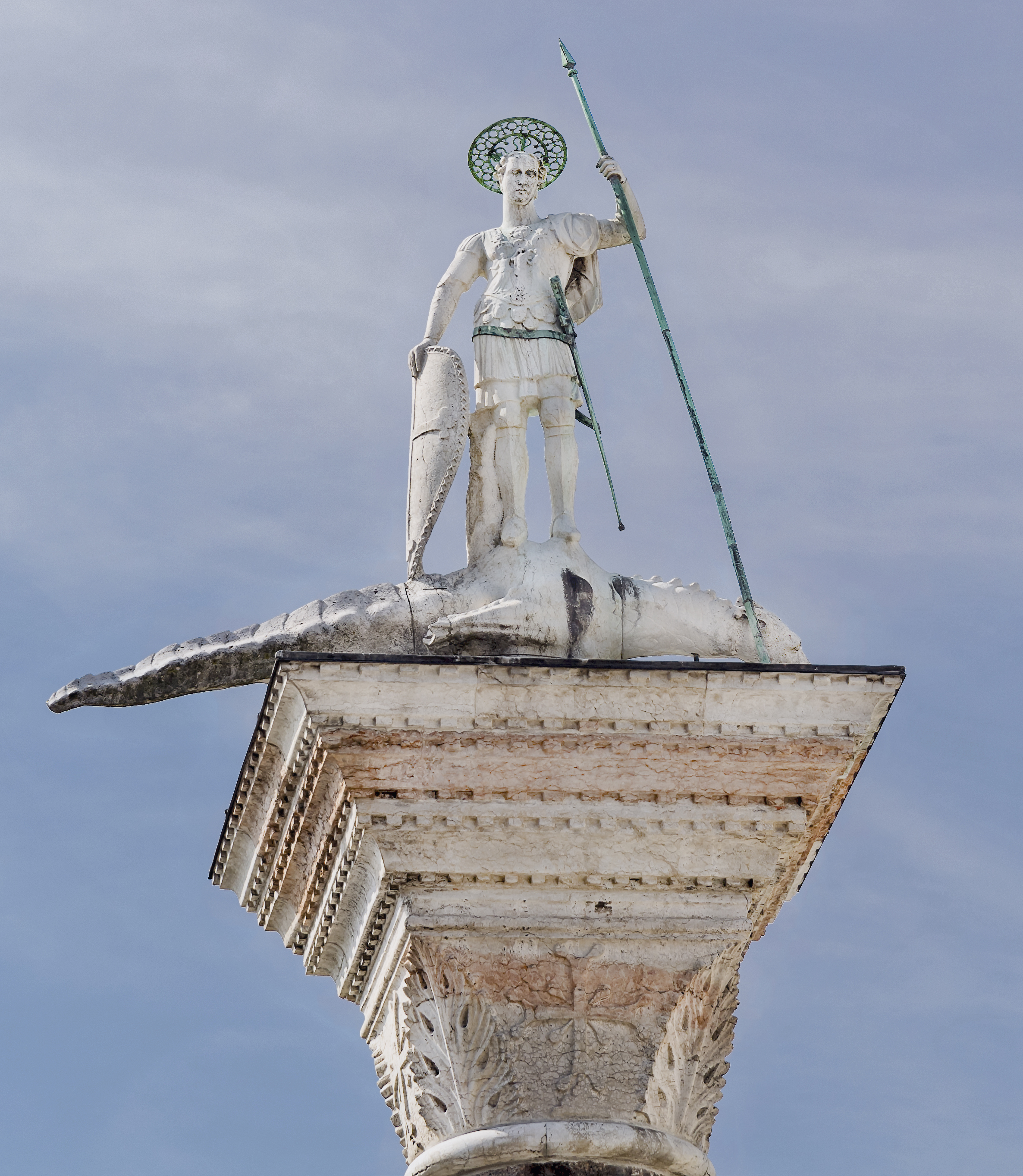 Image result for venice figure standing on the western column is St. Theodore of Amasea, patron of the city before St Mark,