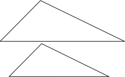 (Two similar but non-congruent triangles, redrawn to show them the same orientation)