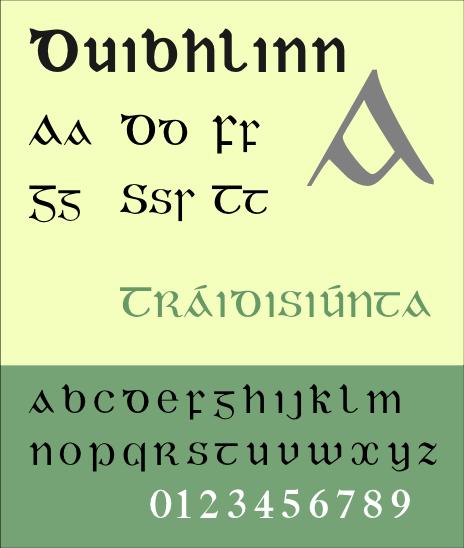 Duibhlinn, a Gaelic typeface