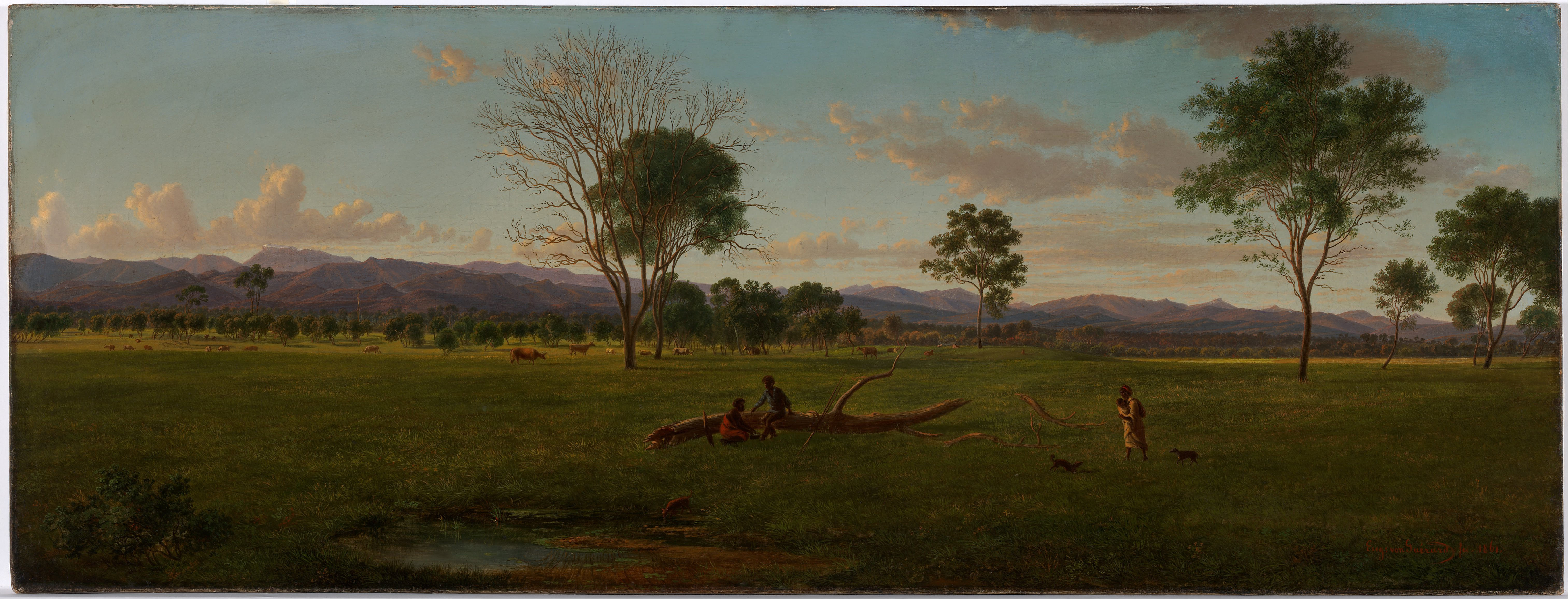 File Eugene Von Guerard View Of The Gippsland Alps From Bushy Park On The River Avon Google Art Project Jpg Wikimedia Commons