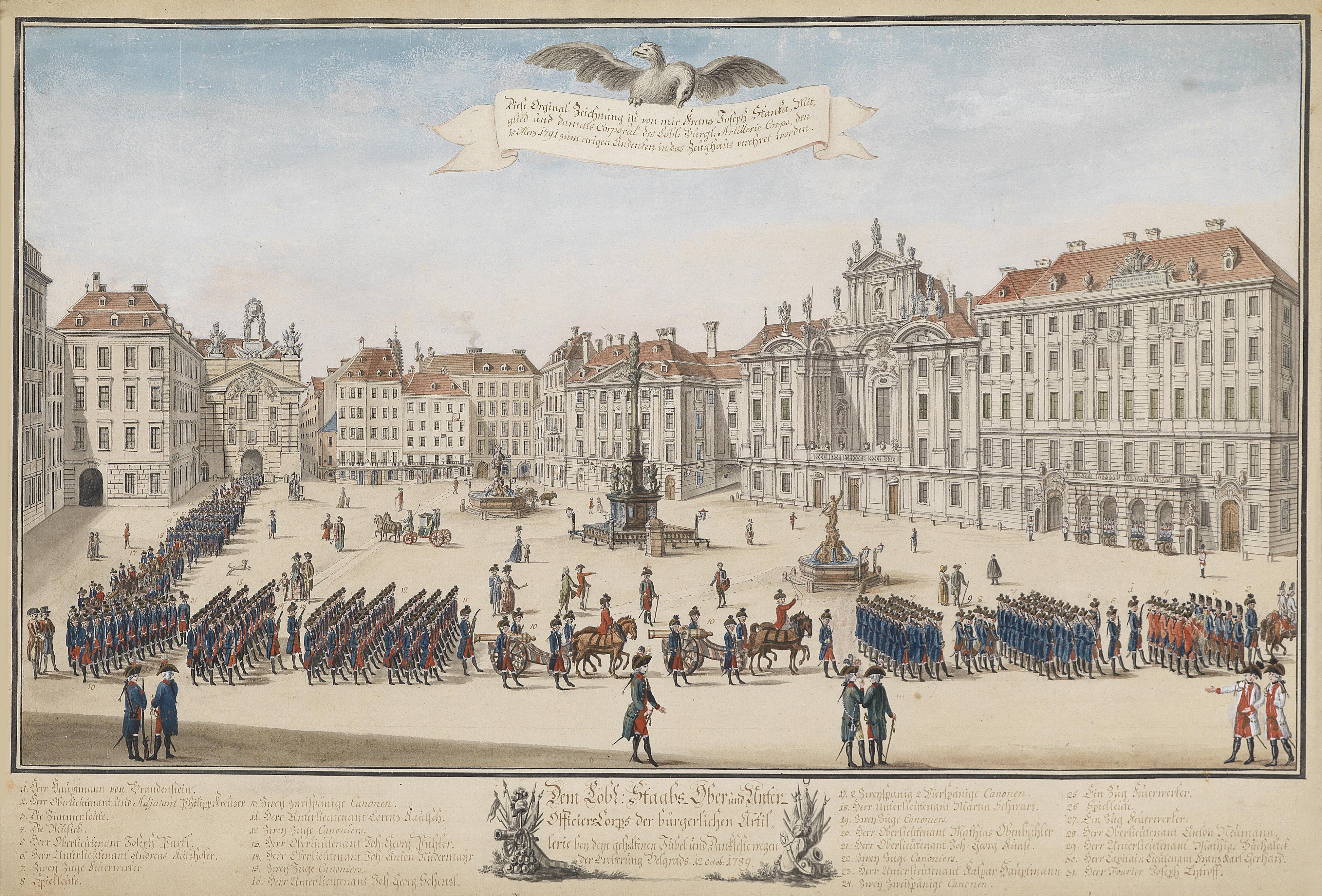 File:Franz Joseph Stanka Parade der Wiener bürgerlichen Artillerie 1791.jpg