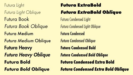 Font Futura Book Bold