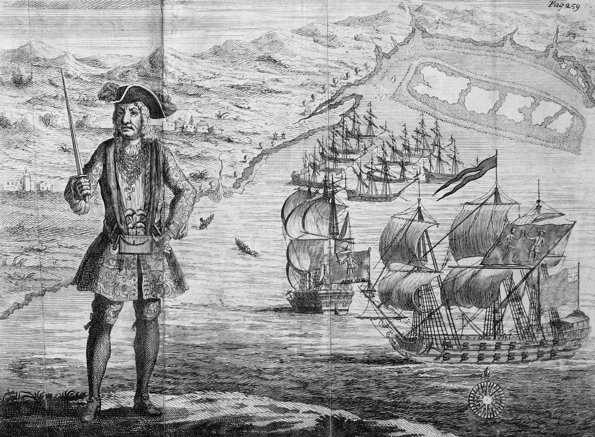 General_History_of_the_Pyrates_-_Captain_Bartholomew_Roberts_with_two_Ships.jpg