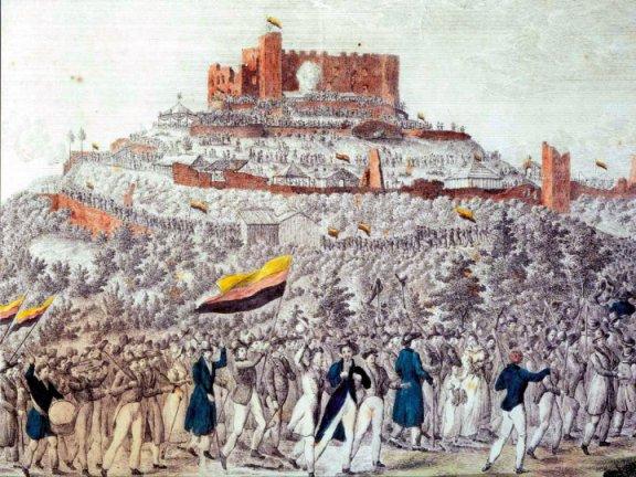 Teilnehmer des Hambacher Fests 1832 mit Flaggen in Schwarz-Rot-Gold (in heute ungewohnter Reihenfolge)