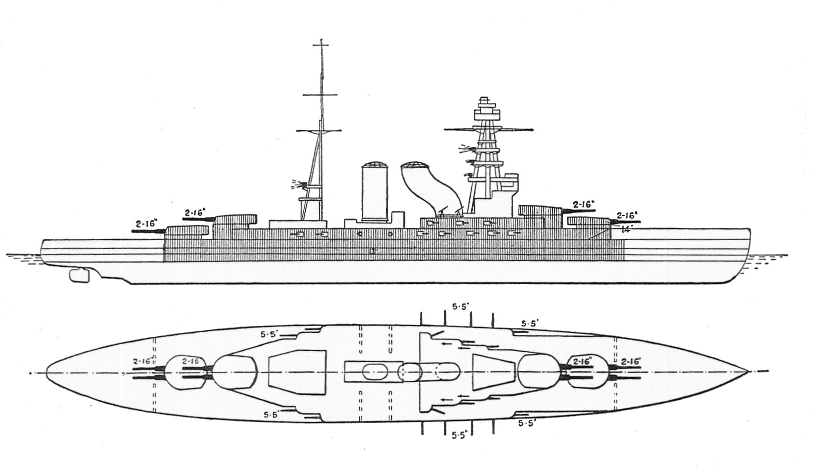 File Japanese Battleships Nagato Amp Mutsu Outline