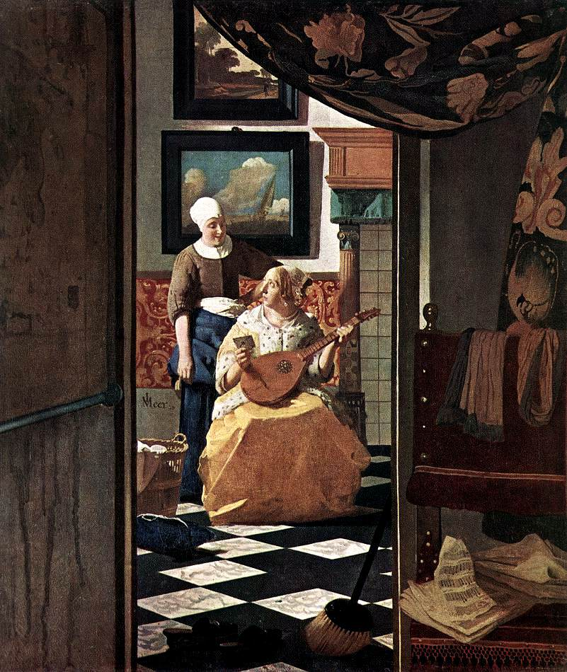 File johannes vermeer the love letter wikimedia commons for Peintures interieures