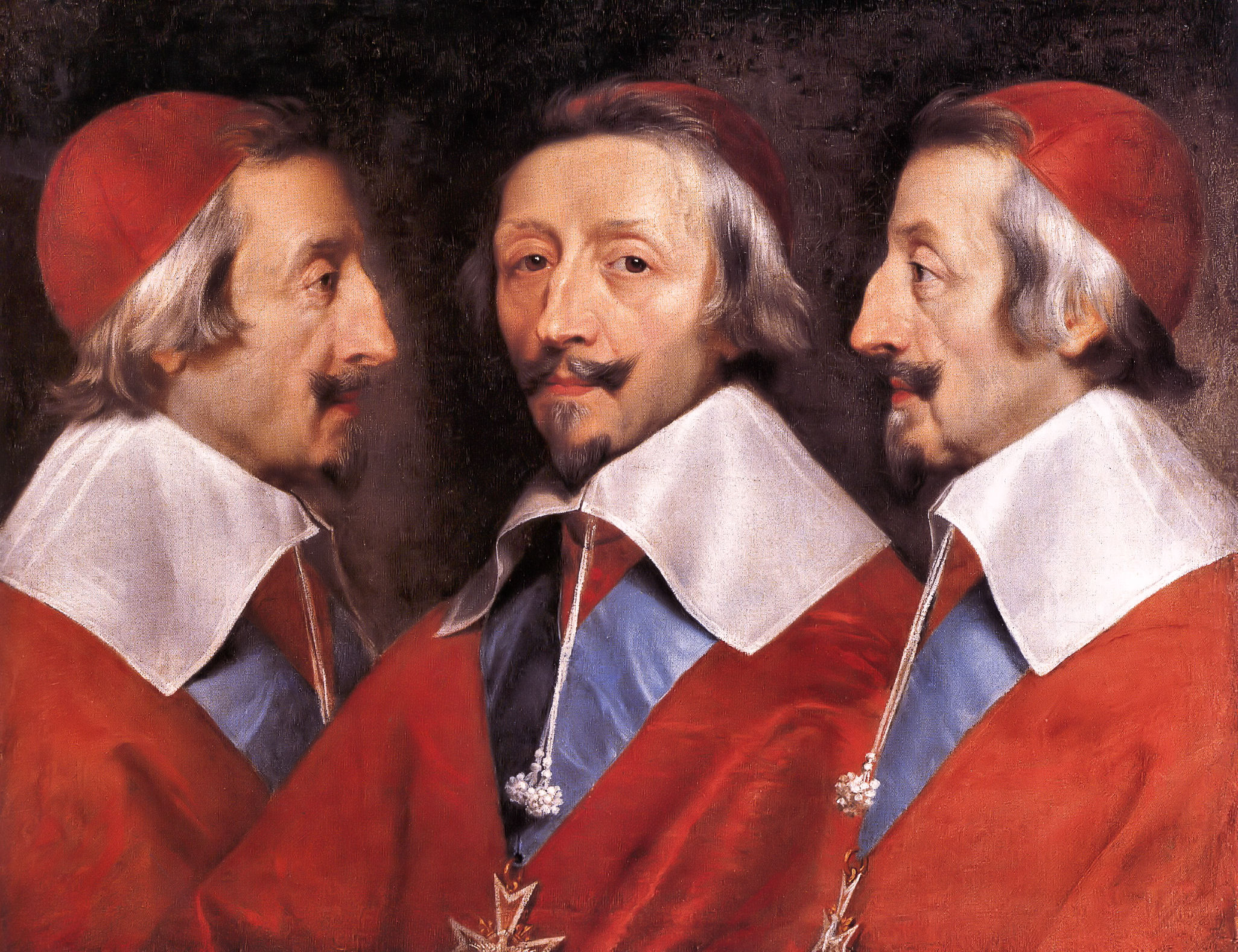 """""""Triple Portrait of Cardinal de Richelieu"""" Philippe de Champagne (1602-1674)."""