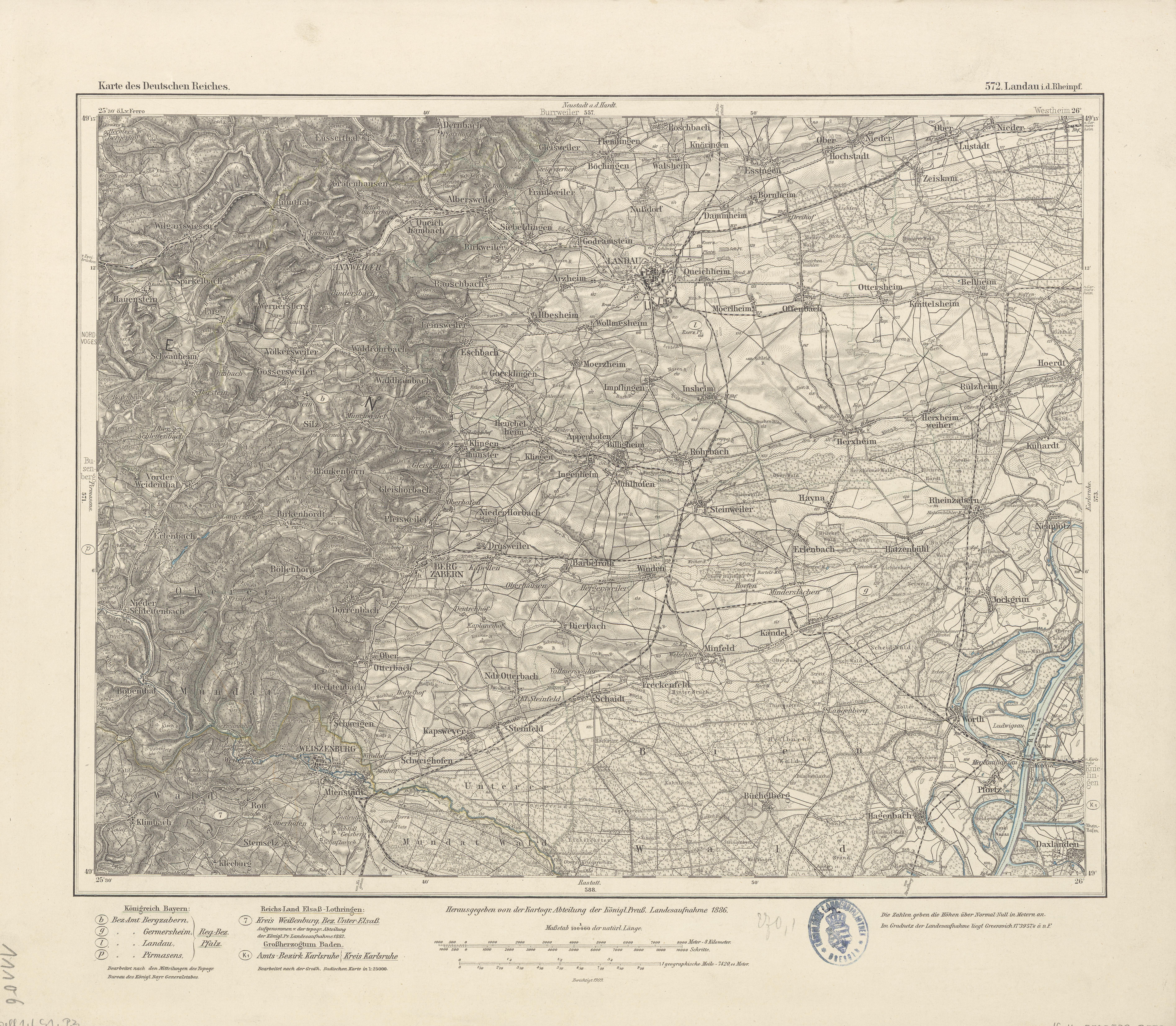 Datei Karte Des Deutschen Reiches 572 Landau 1886 Jpg