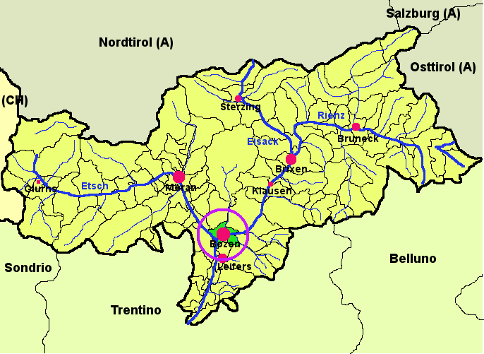 Location of Bolzano.
