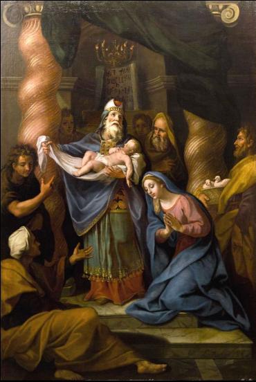 Schilderij door Louis de Boullogne. Titel: La Présentation de Jésus au temple