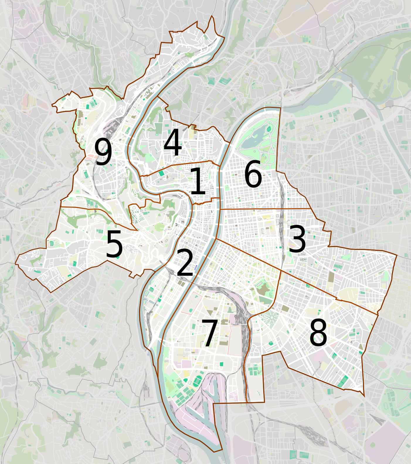 carte des arrondissements de lyon File:Lyon et ses arrondissements map numbers.png   Wikimedia Commons