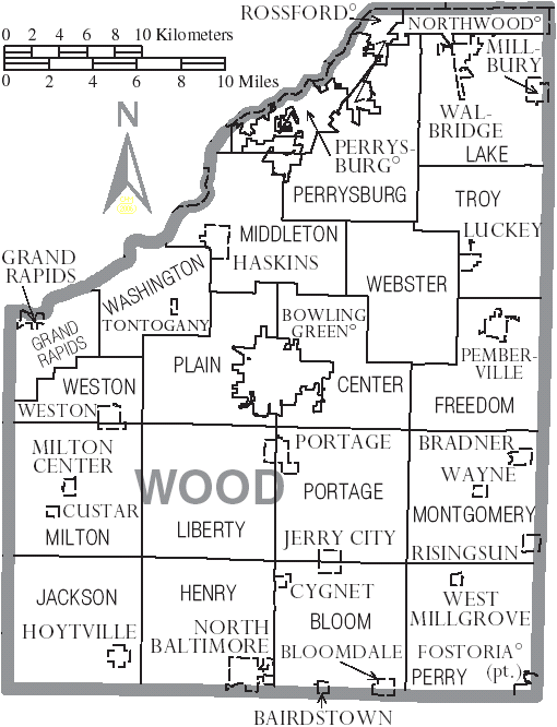 File Map Of Wood County Ohio With Municipal And Township Labels Png