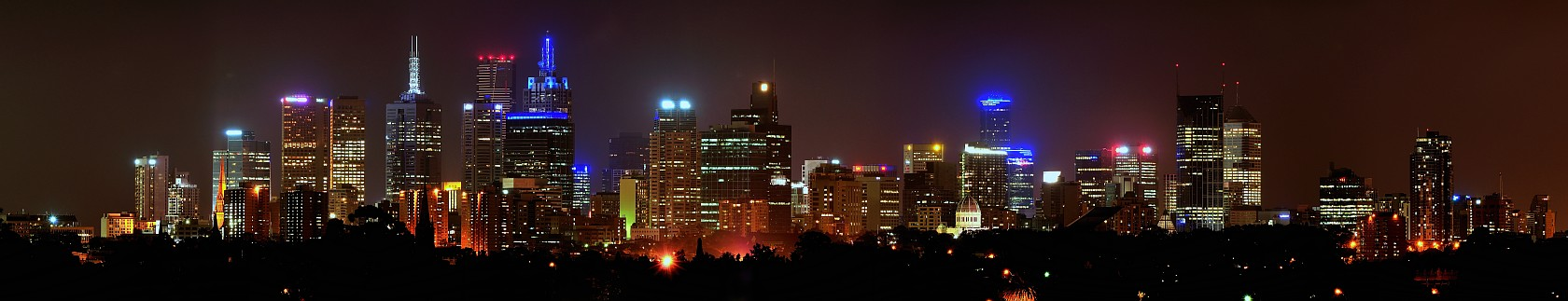 Melbourne skyline, at night. Capital of Victoria, Australia