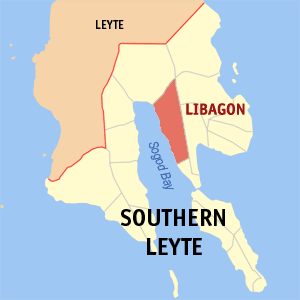 Map of Southern Leyte showing the location of Libagon