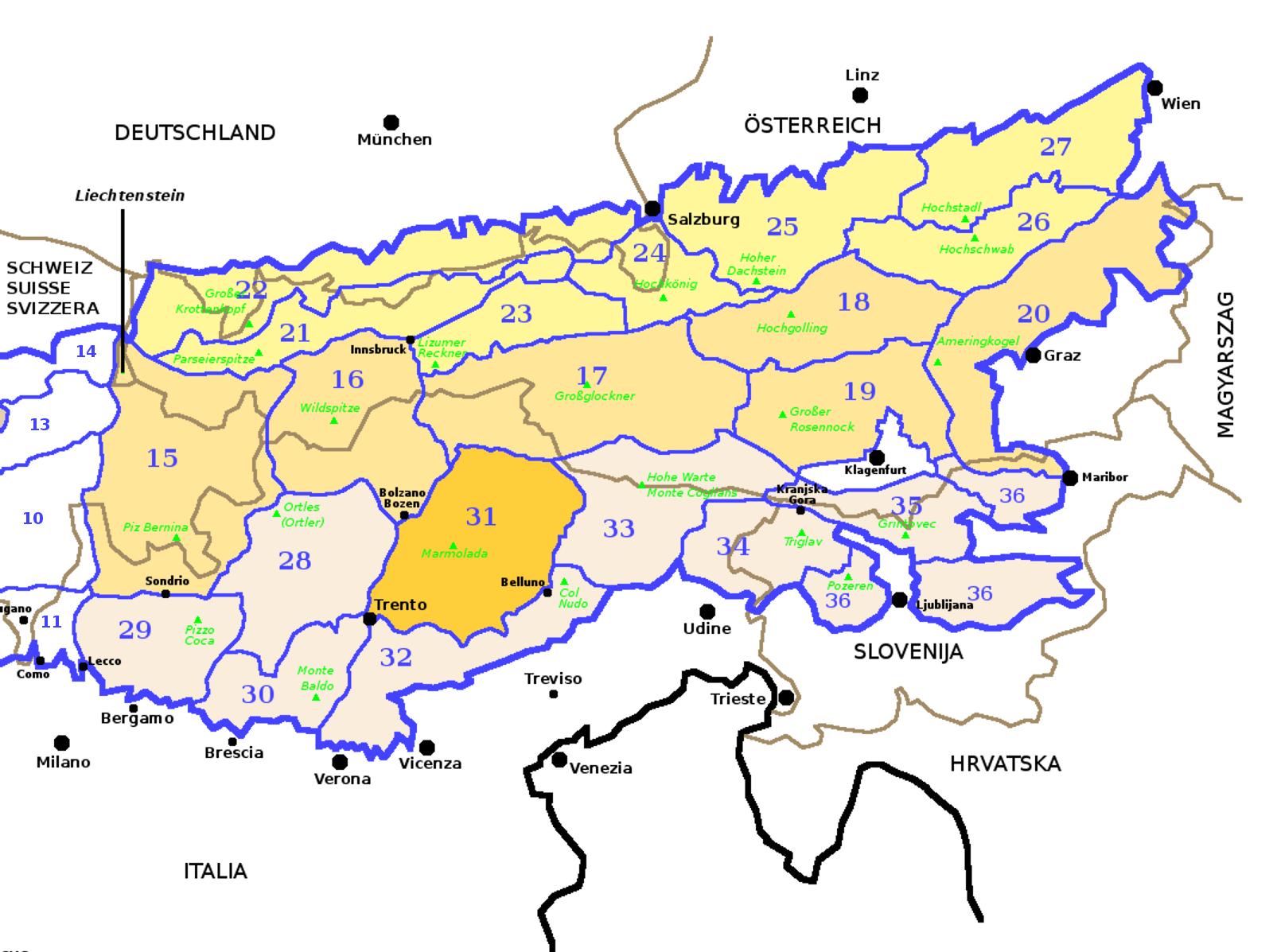 Cartina Geografica Dolomiti.Dolomiti Sezione Alpina Wikipedia