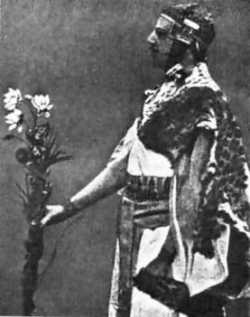 Samuel Liddell MacGregor Mathers in Egyptian setup performing a ritual in the Hermetic Order of the Golden Dawn
