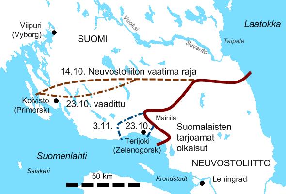 Neuvostoliiton aluevaatimukset sekä Mainila