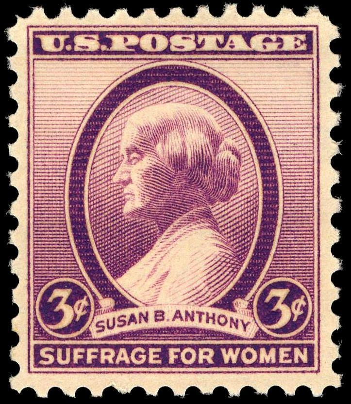 The postage stamp issued in 1936 to honor Susan B. Anthony, a prominent leader of the suffrage movement in the United States.