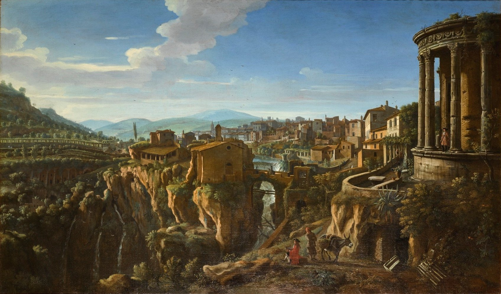 TIVOLI, A VIEW WITH THE TEMPLE OF VESTA AND THE BRIDGE OF SAN MARTINO by Gaspar van Wittel.jpg