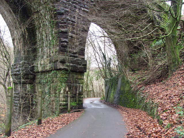 Taff Trail passing under Quaker's Yard viaduct - geograph.org.uk - 3295097