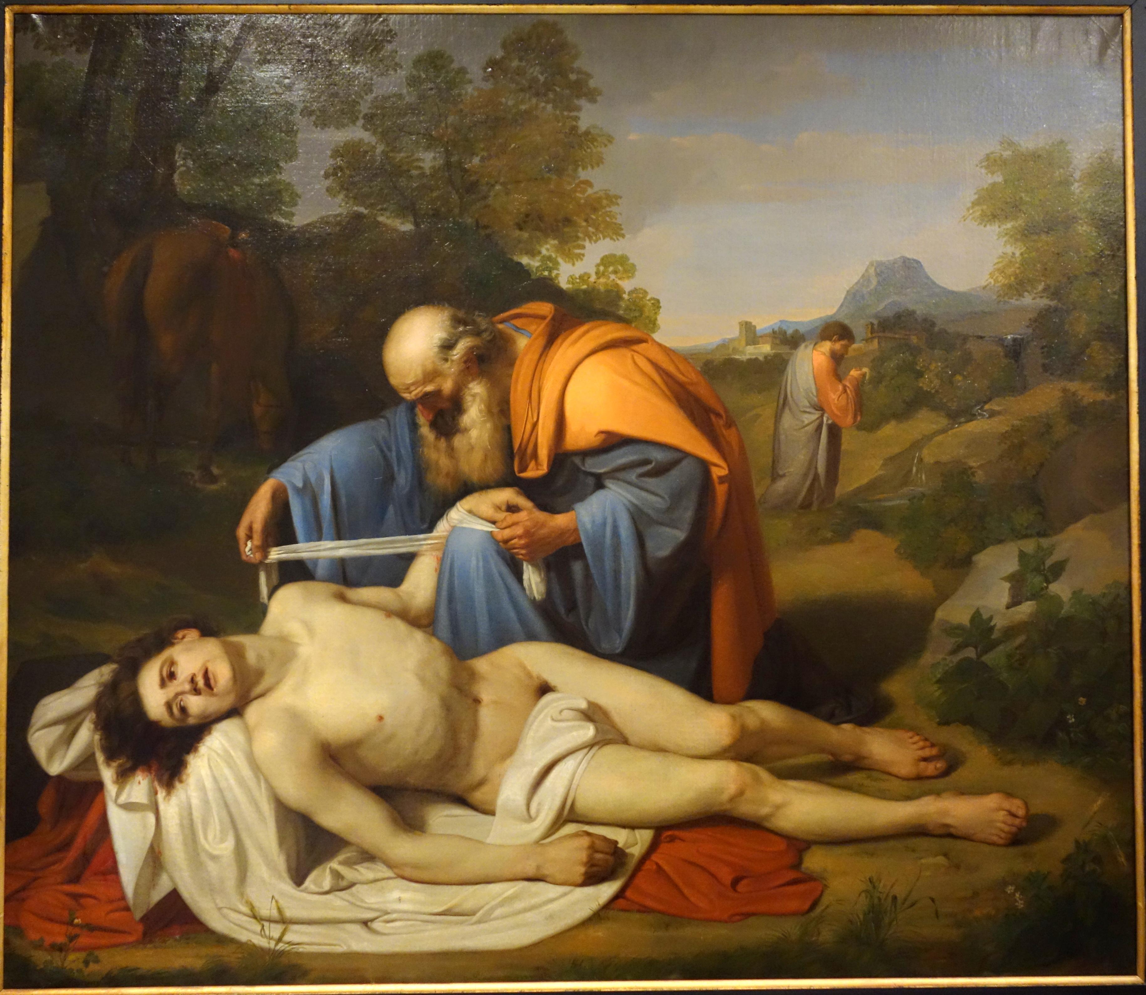 file the good samaritan by luigi sciallero 1854 oil on canvas