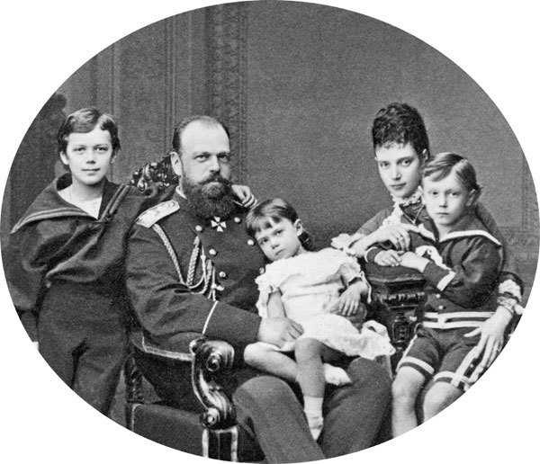Tsar Alexander III, his wife, and 3 of their children
