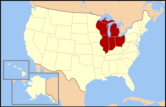 East Central Us Map East North Central states   Wikipedia