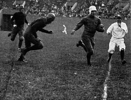 Gibby Welch tied a school record with this 105-yard kickoff return against West Virginia in 1927. Pitt won the game 40-0. Welch105ydrunWVU1929Owl.jpg