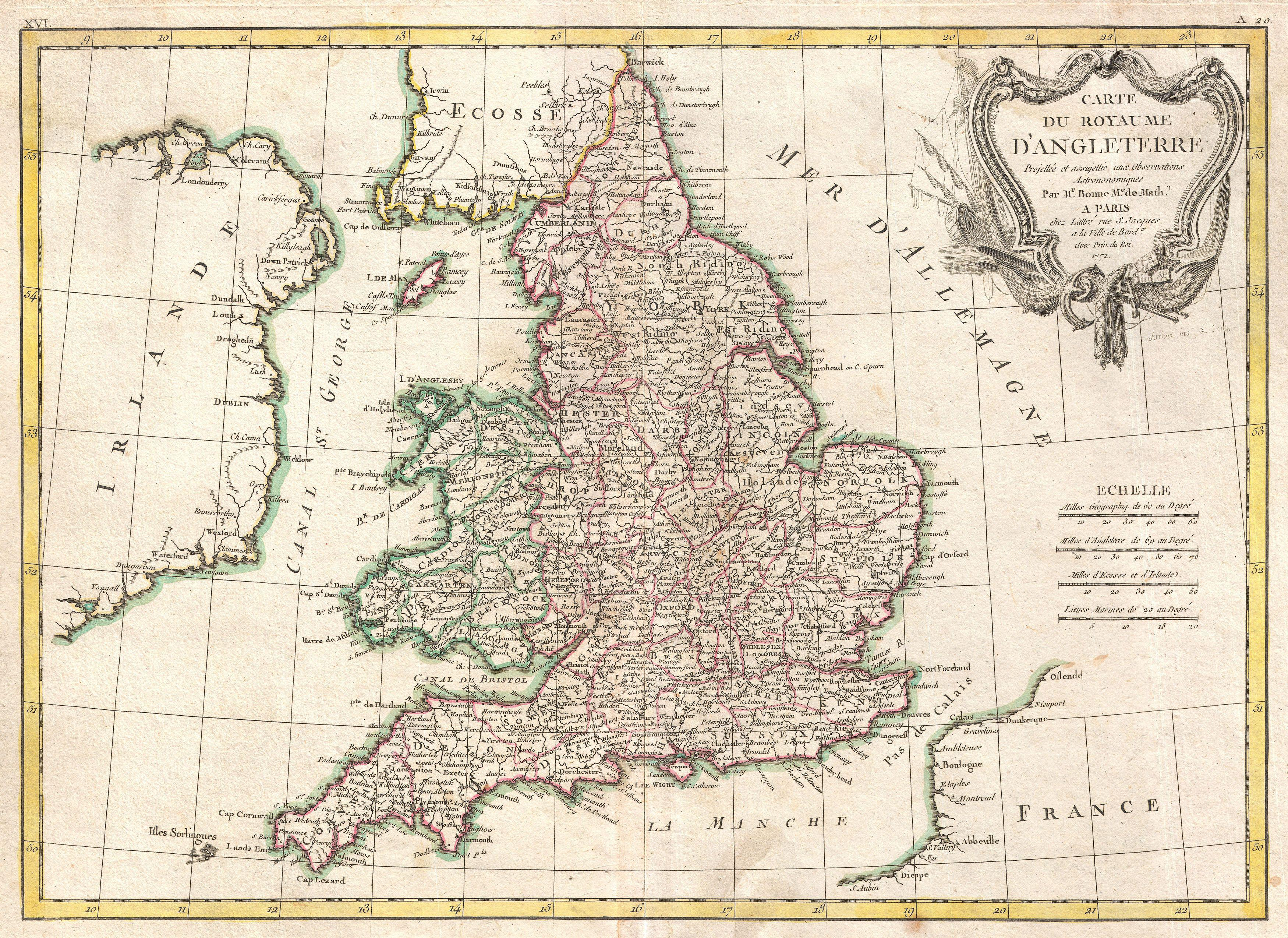 File:1772 Bonne Map of England and Wales - Geographicus ...