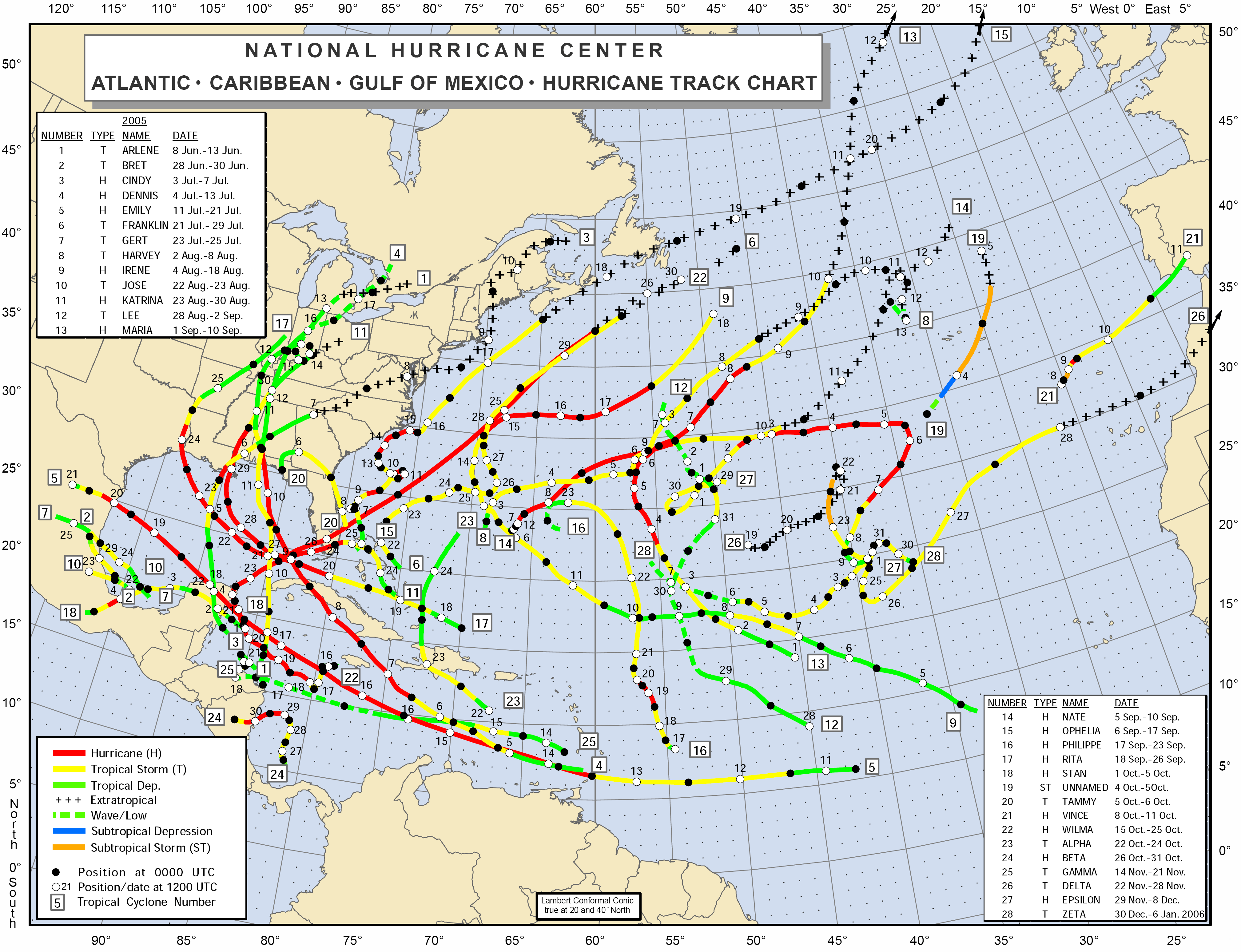 Tropical Cyclone Climatology NHC Data Archive  Atlantic - Florida map rosemary beach