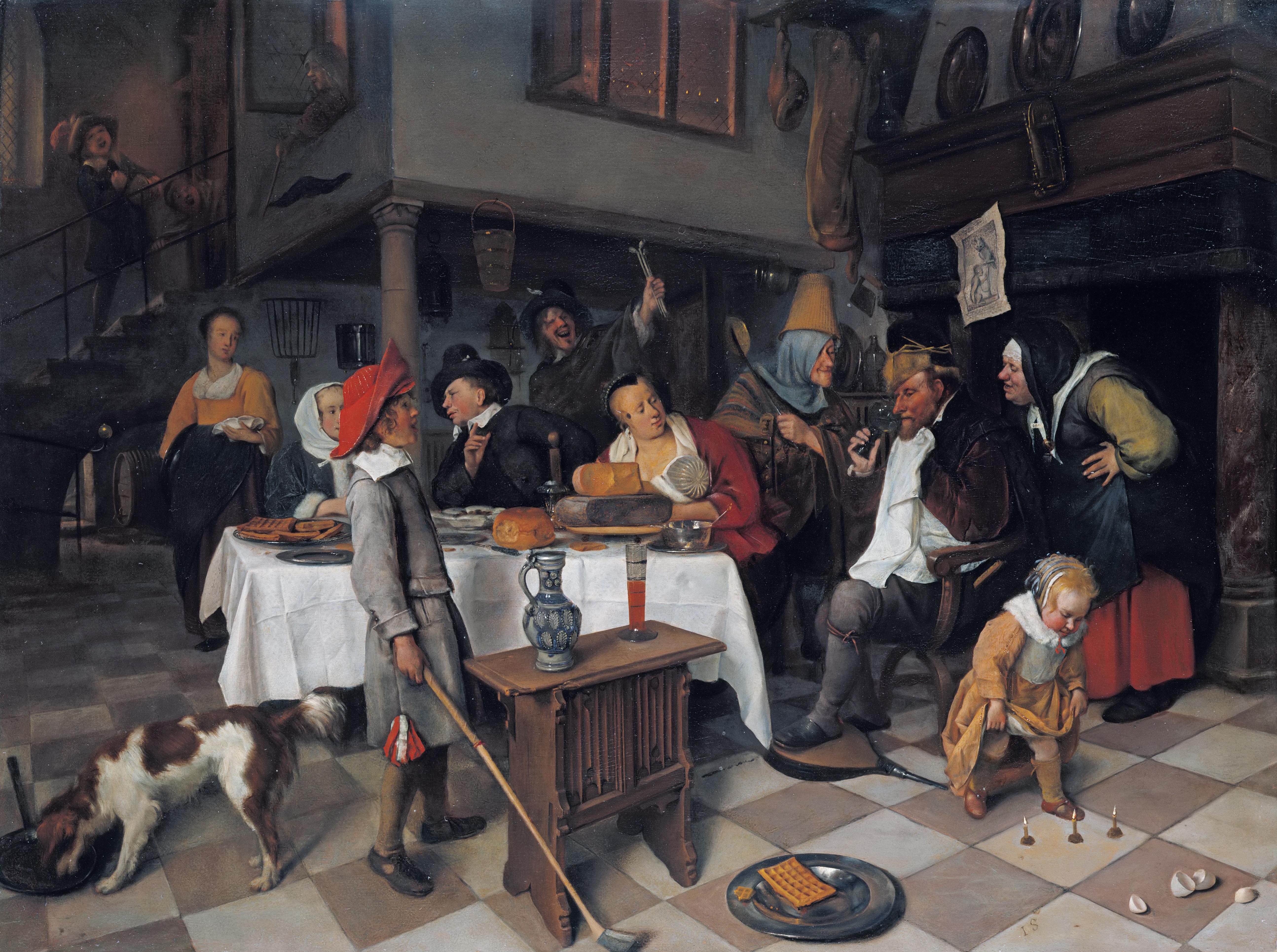 Jan Steen, 'The King Drinks' A Twelfth Night Feast, circa 1661