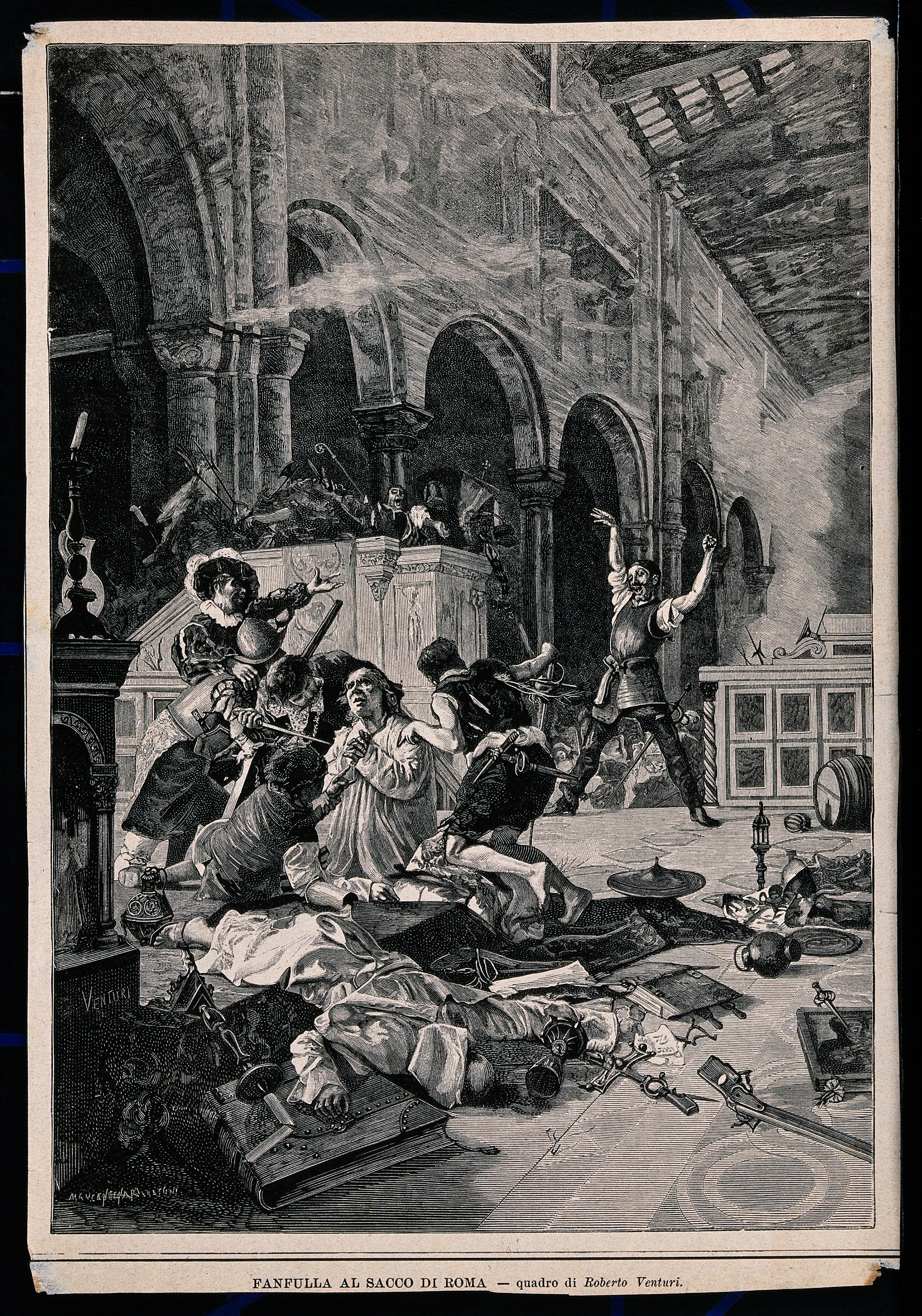 A massacre in a church during the Sack of Rome; a priest is Wellcome V0041554.jpg