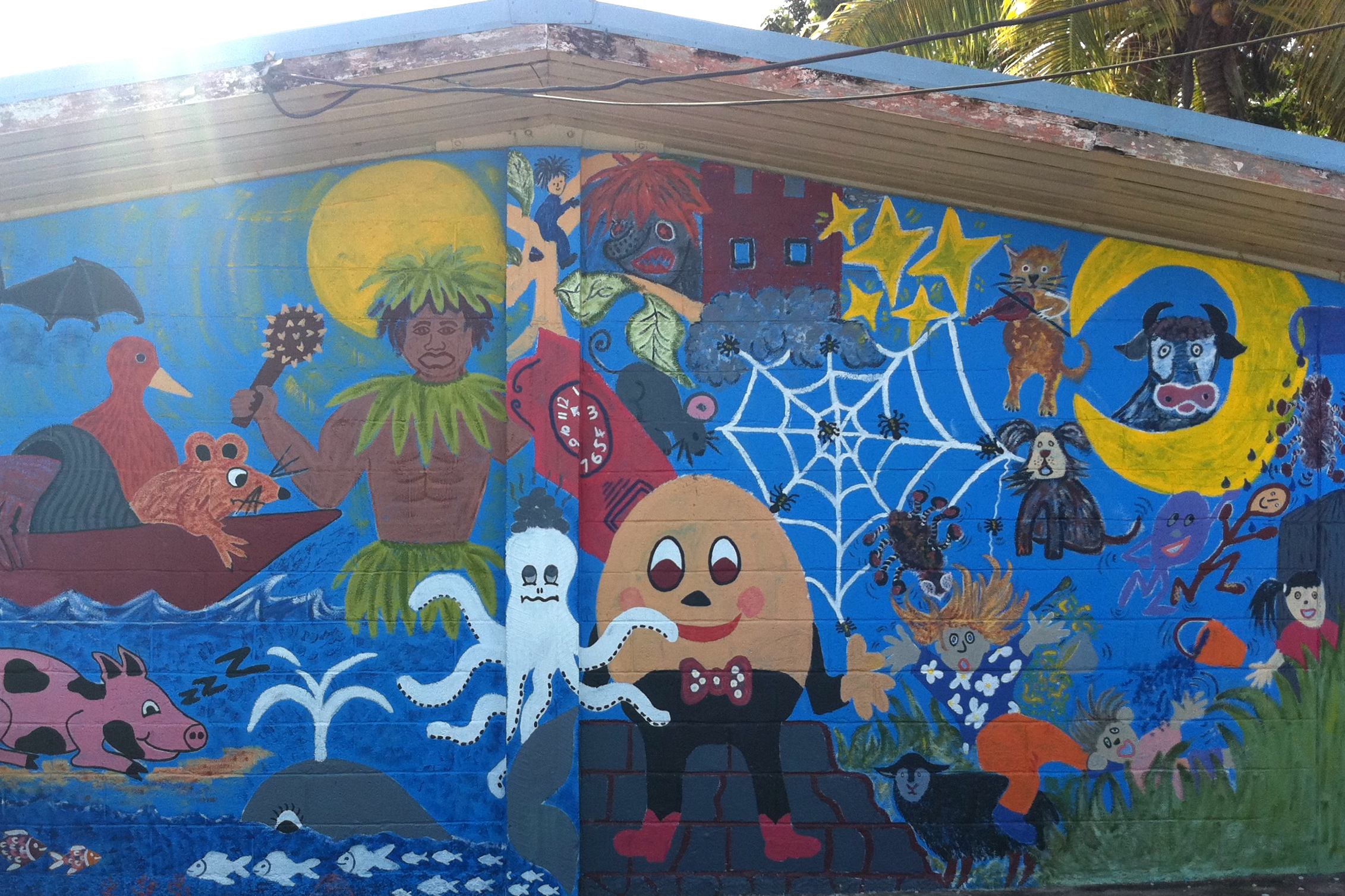 File a mural painted on a classroom wall at niue primary for A mural is painted on a