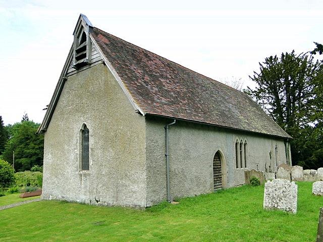All Saints' parish church, Kinsham, Herefordshire, seen from the southwest