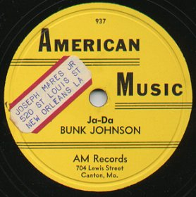 Label of an American Music 78 by Bunk Johnson