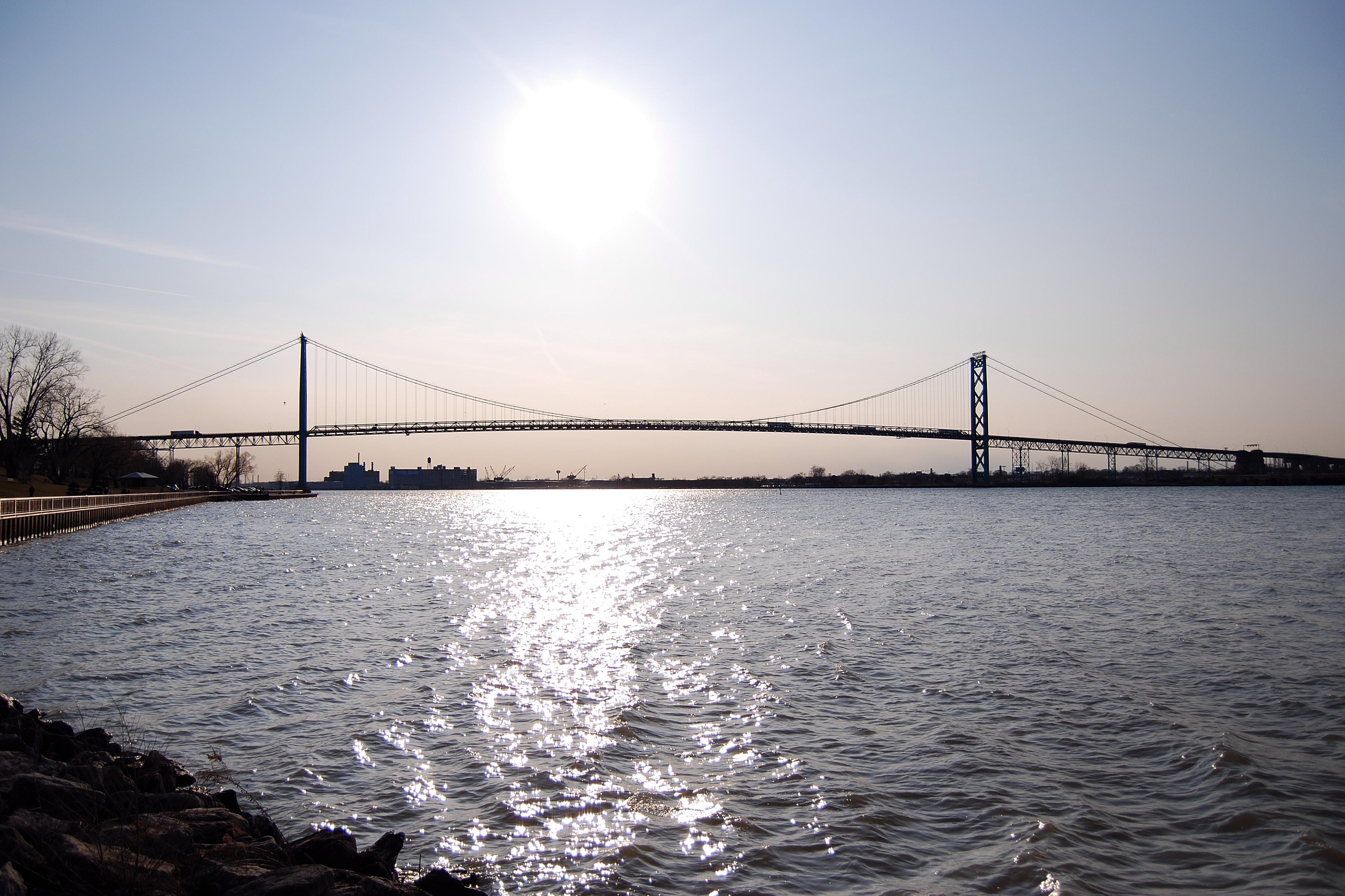 Ambassador Bridge connects Windsor and Detroit