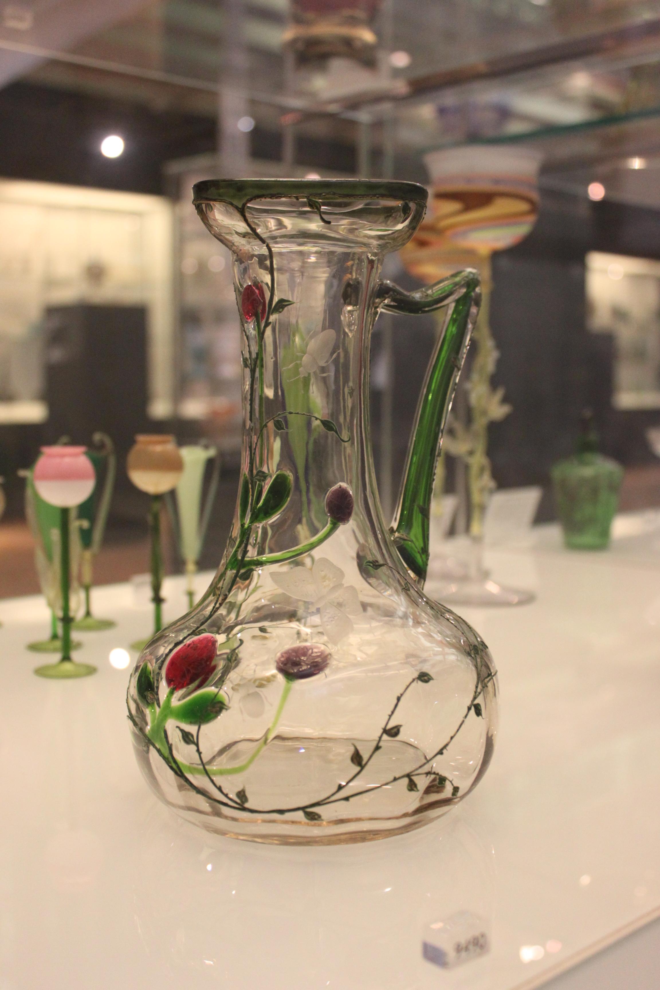 Moser Cranberry Glass wGold Leaf Pattern Bohemia Crystal Czech